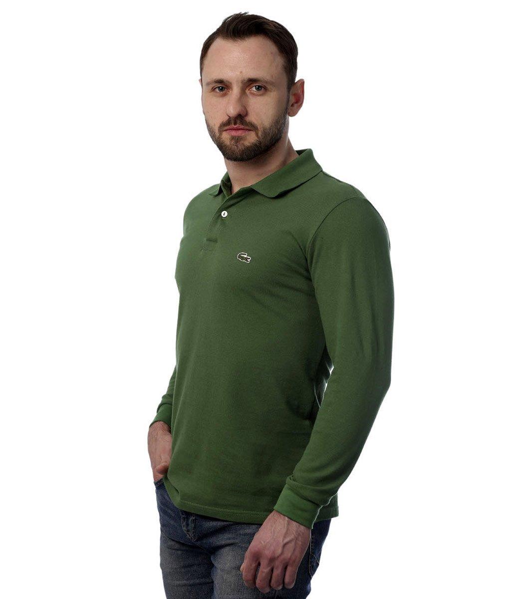 Поло с длинным рукавом Lacoste Classic (Темно-зеленый) - Темно зеленый - Вид 3