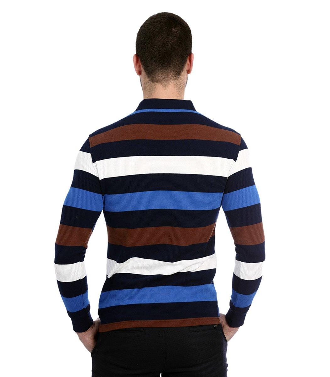 Поло с длинным рукавом Paul Shark PP2 (Голубой/коричневый) - Голубой/Коричневый/Белый - Вид 6
