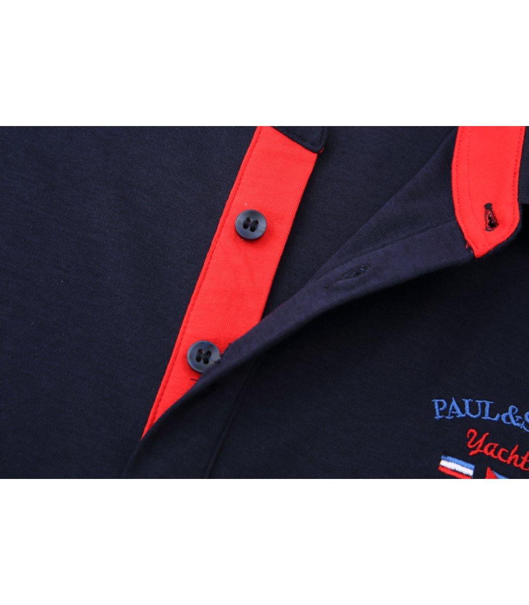 Синее поло с длинным рукавом Paul&Shark PN2
