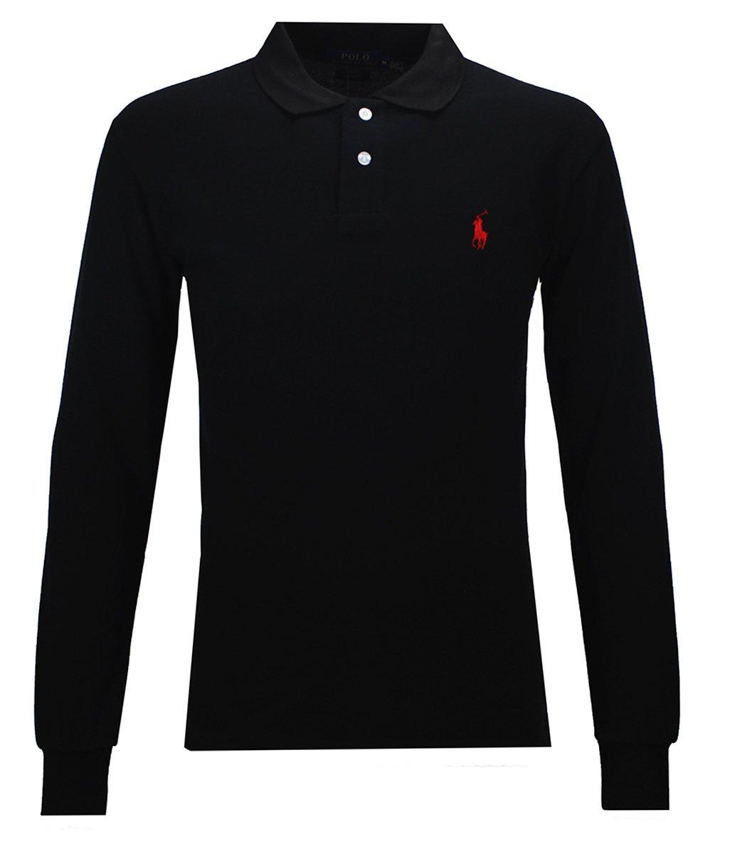 Черное поло с длинным рукавом POLO Ralph Lauren PR1