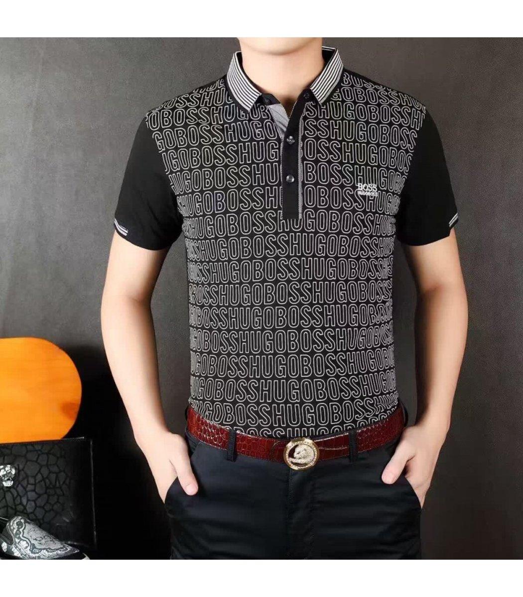 Мужская черная футболка поло Hugo Boss с принтом