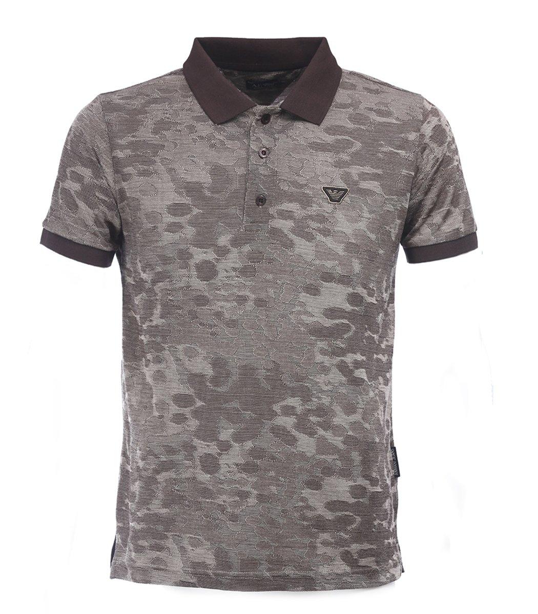Коричневая футболка поло Giorgio Armani A1 - Коричневый - Вид 1