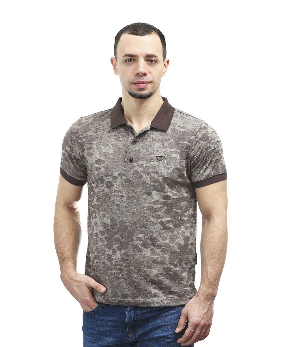 Коричневая футболка поло Giorgio Armani A1