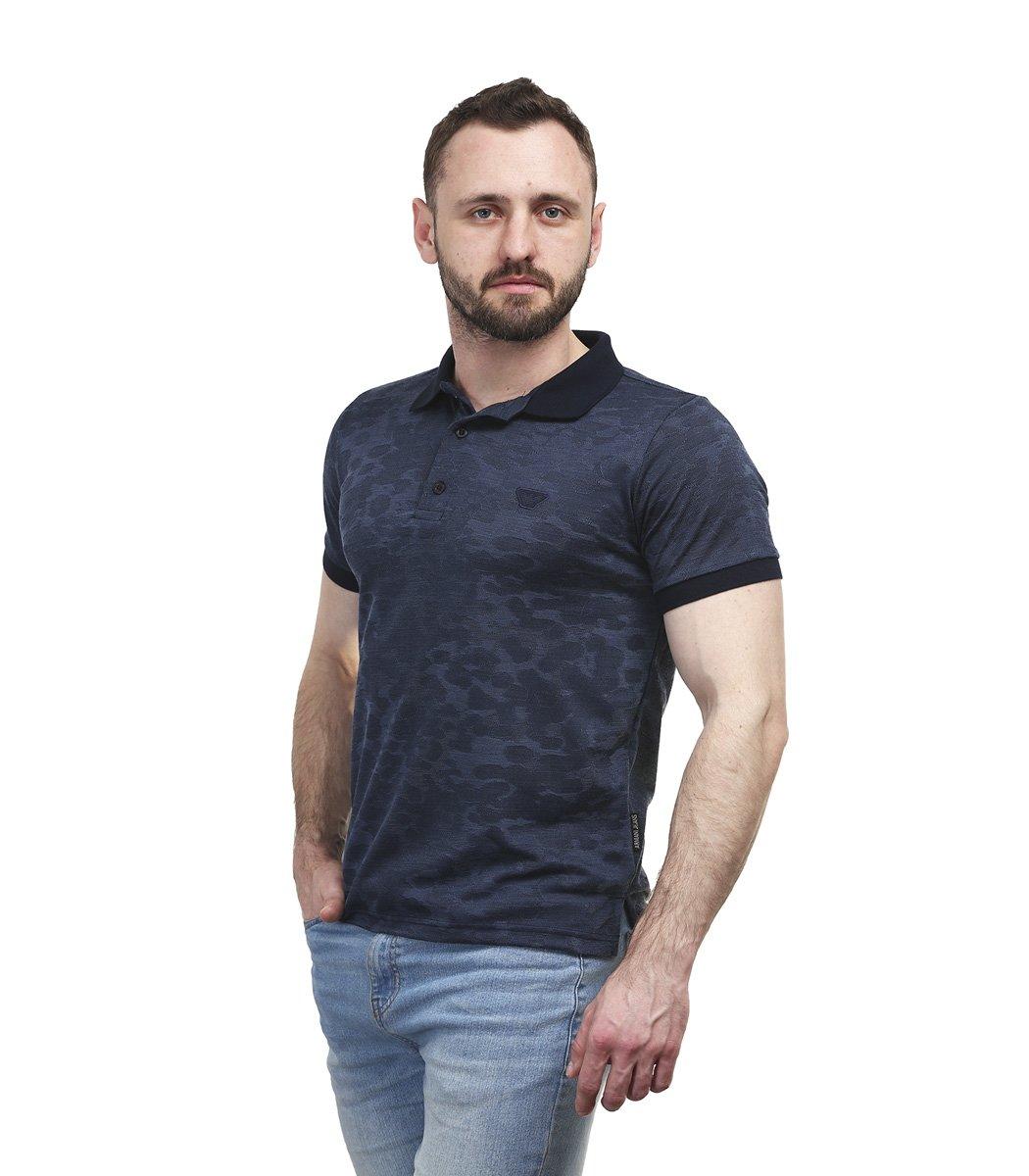 Темно-синяя футболка поло Giorgio Armani A1