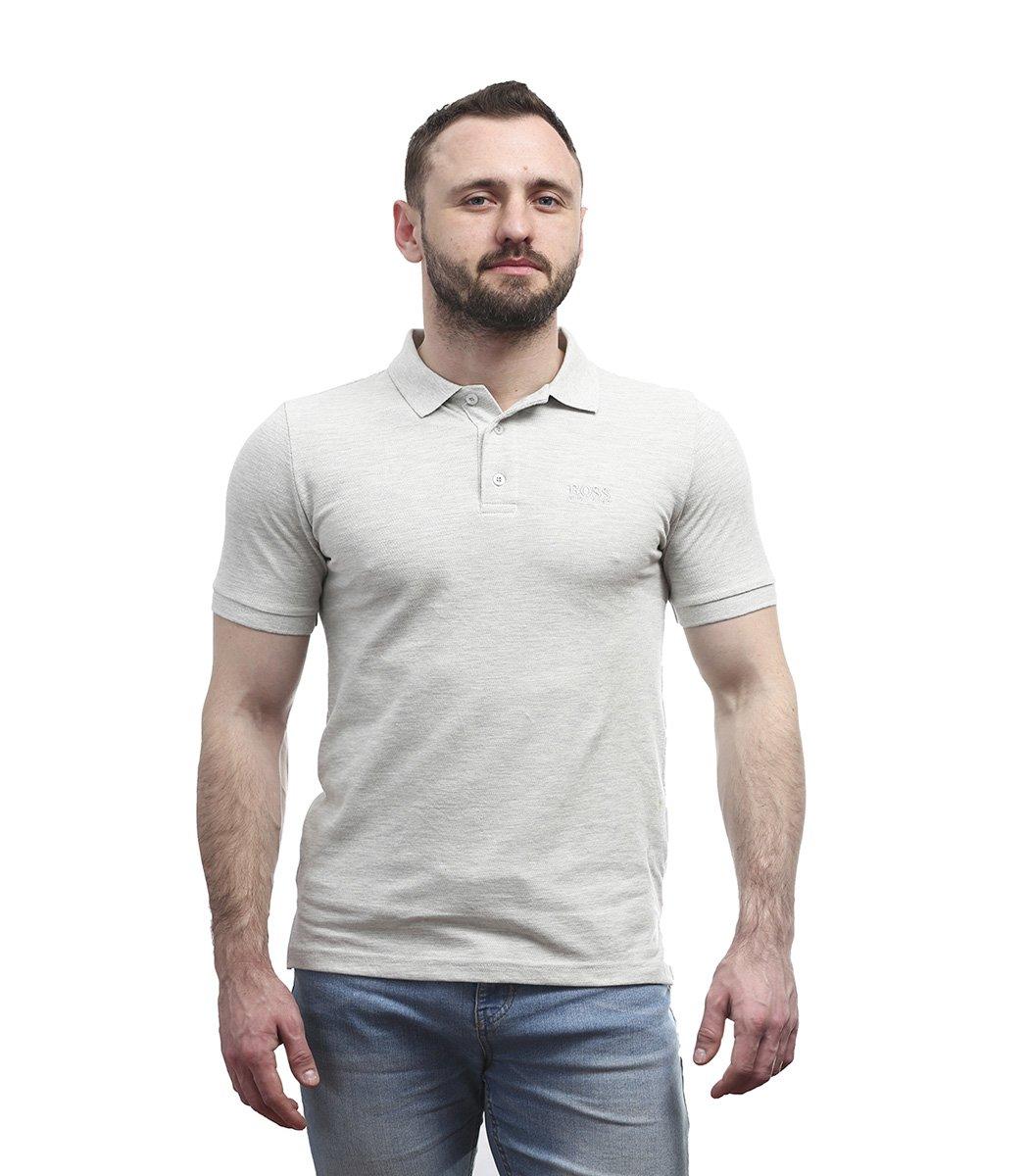 Классическая светло-серая футболка поло Hugo Boss