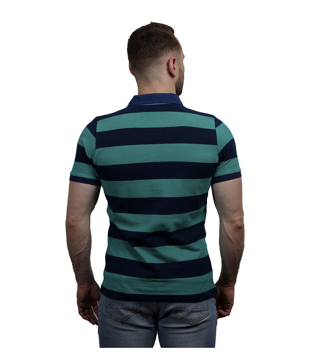 Зеленая футболка поло Paul&Shark в синюю полоску