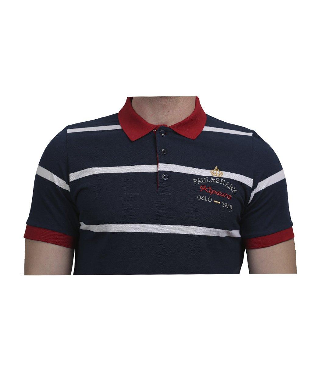 Синяя футболка поло Paul&Shark в белую полоску