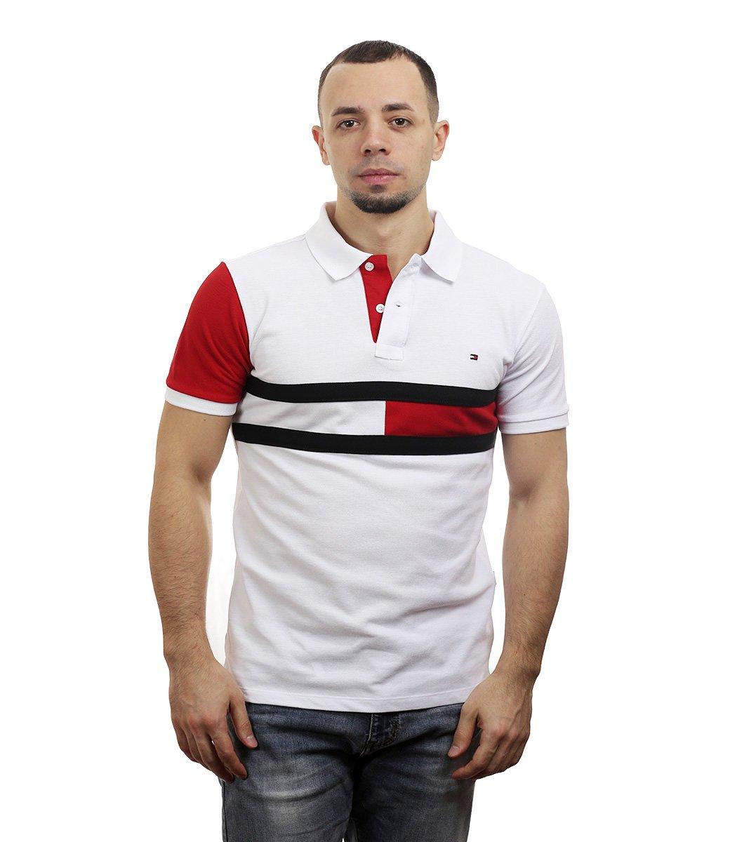 Белая футболка поло Tommy Hilfiger - Белый/красный - Вид 2