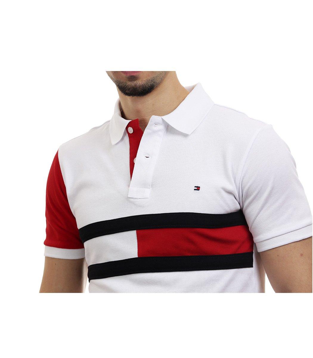 Белая футболка поло Tommy Hilfiger - Белый/красный - Вид 3