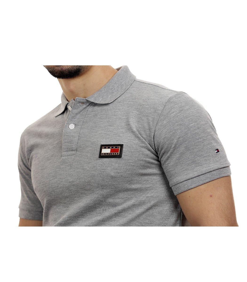 Серая футболка поло Tommy Hilfiger