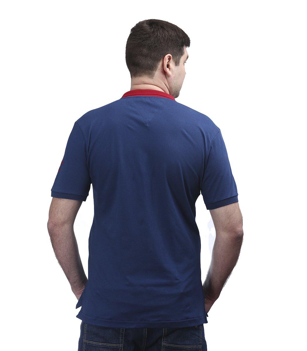 Синяя футболка поло Tommy Hilfiger с красным воротником TH4