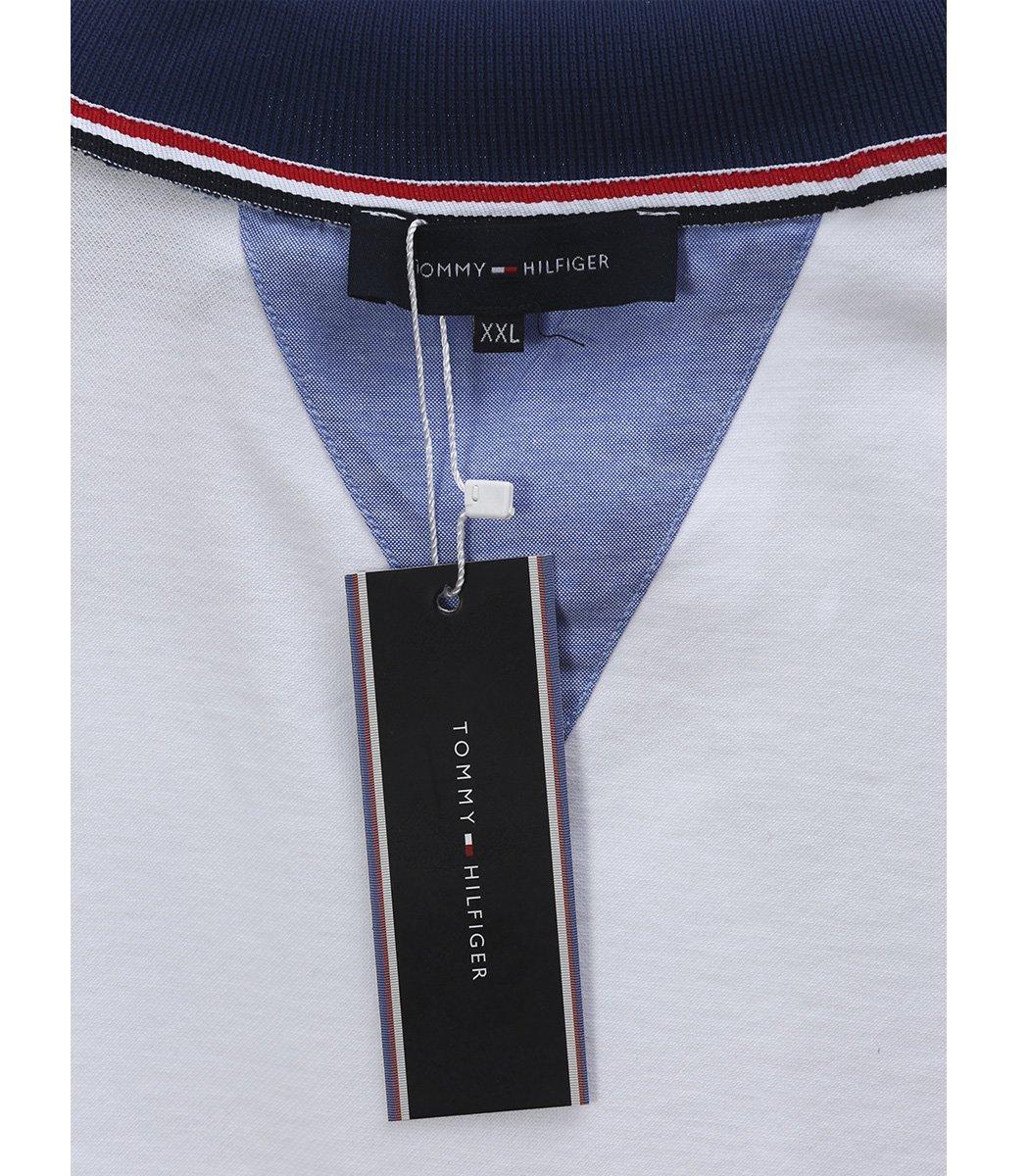 Белая футболка поло Tommy Hilfiger с синим воротником TH4