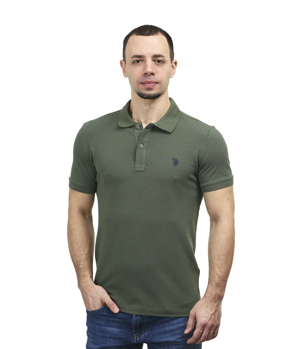 Хаки футболка поло U.S.Polo ASSN U1