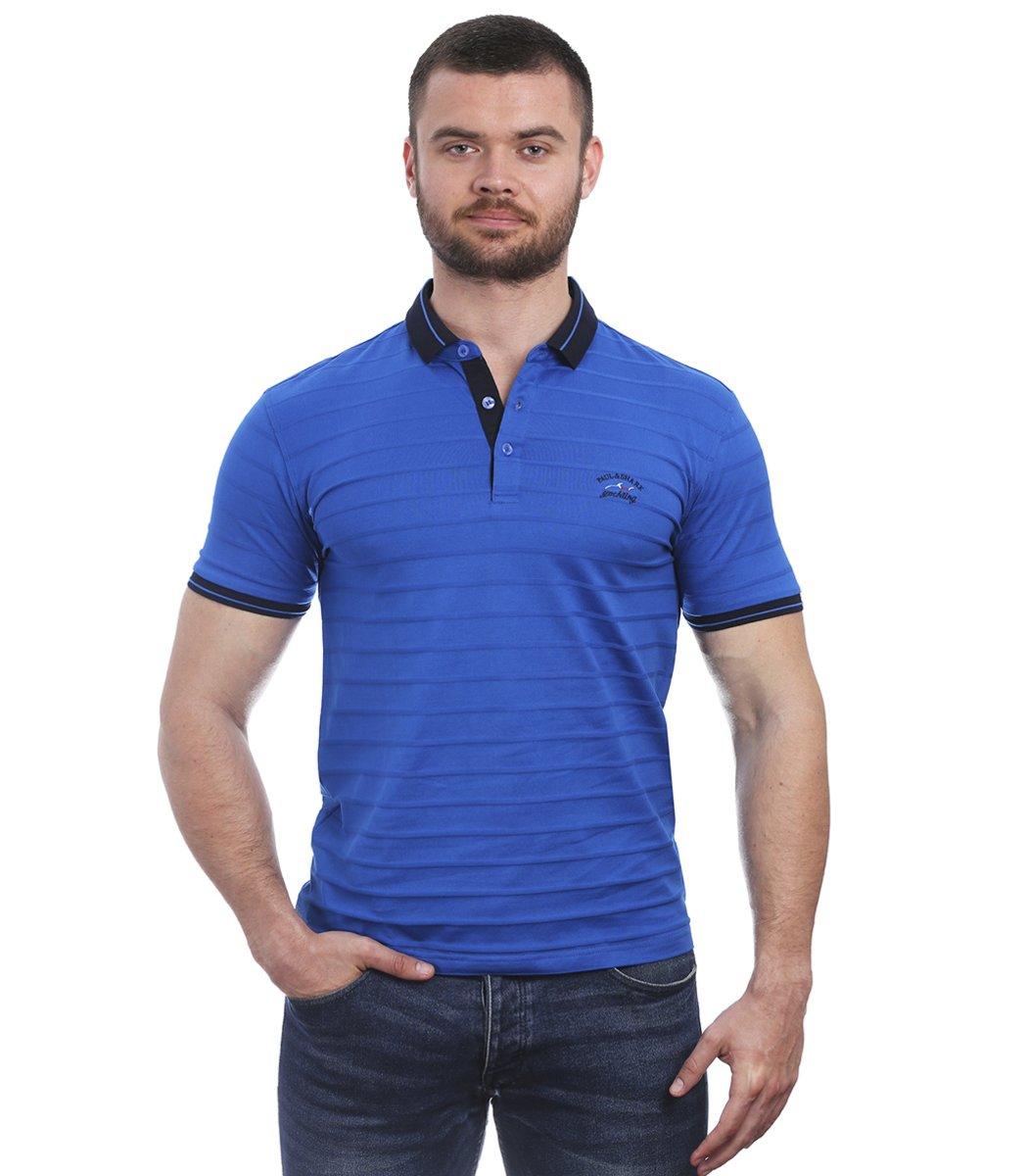 Голубая футболка поло Paul&Shark с тактильной полосой NT1