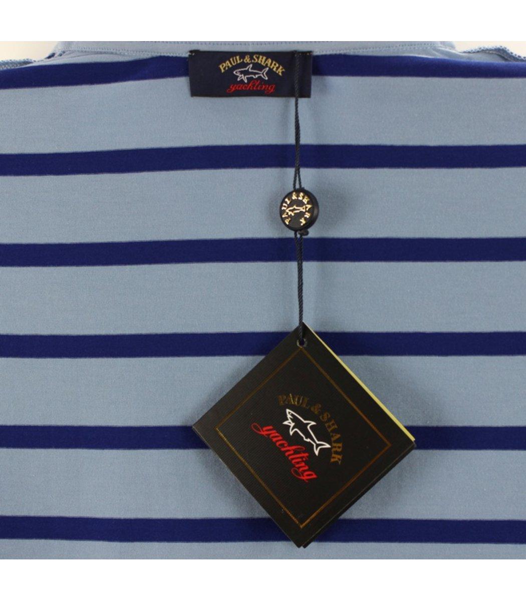 Светло-голубая футболка поло Paul&Shark в синюю полоску PS6