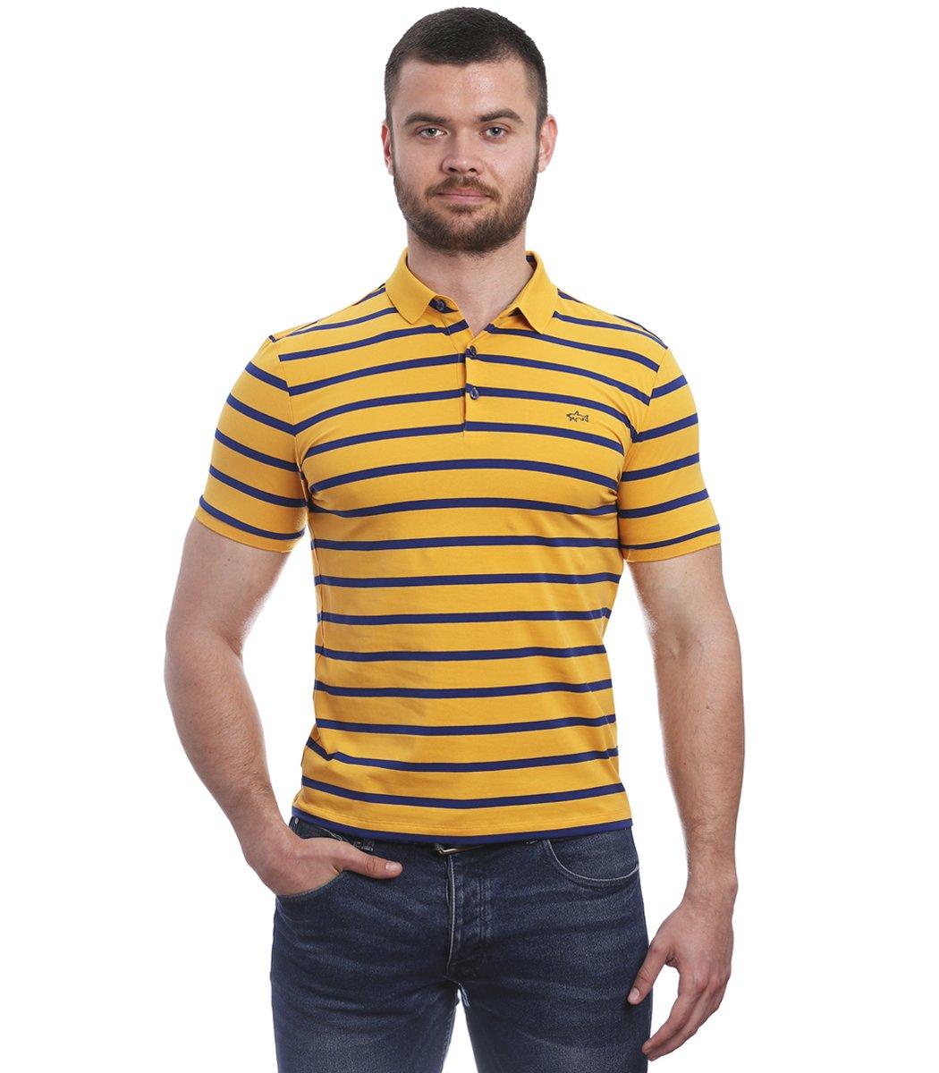 Желтая футболка поло Paul&Shark в синюю полоску PS6
