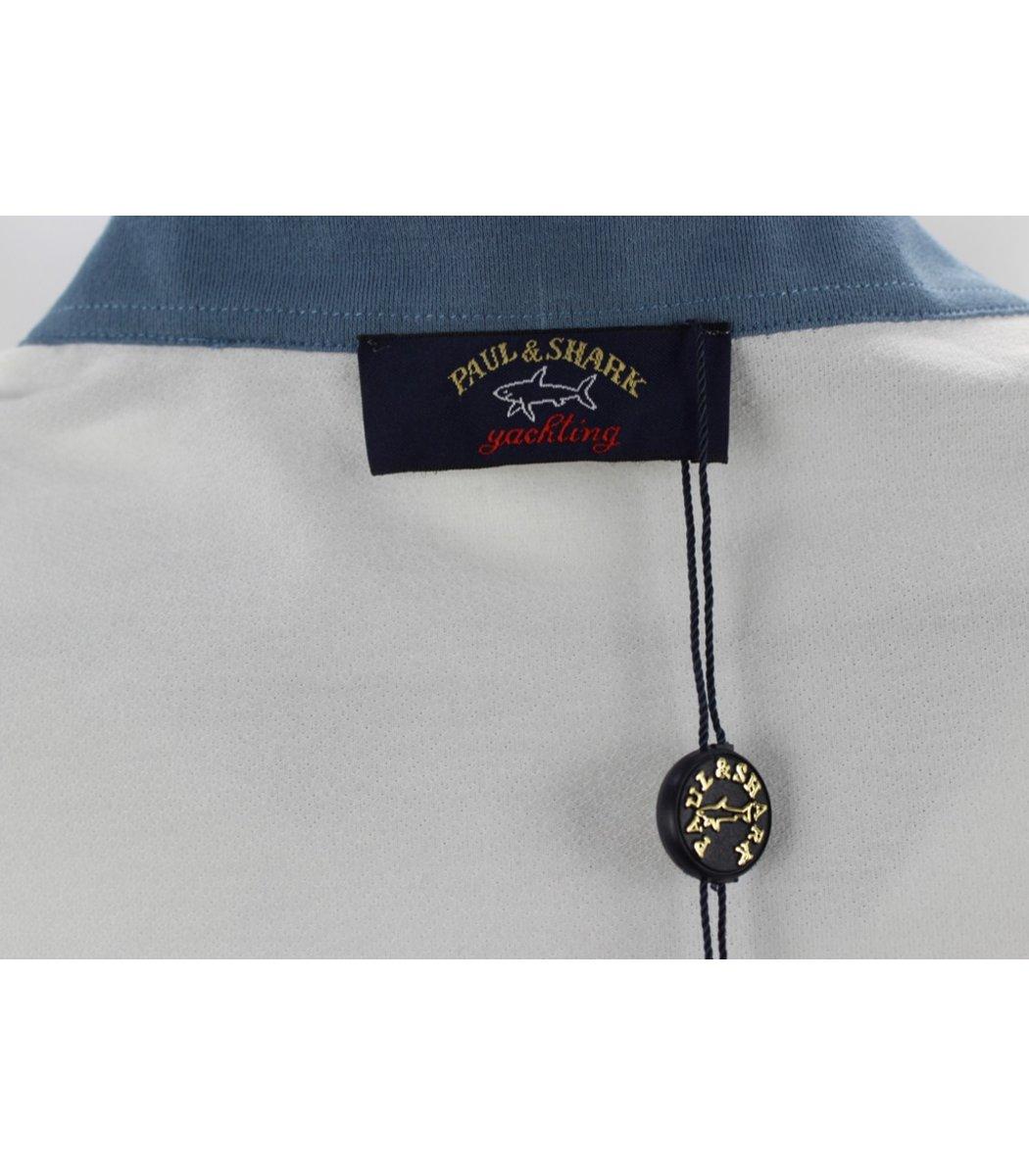 Голубая футболка поло Paul&Shark в крупную полоску PS7