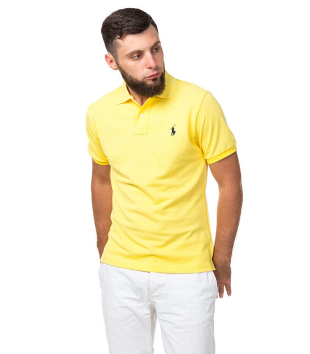 98f0aa608d04c Мужская желтая футболка поло Ralph Lauren R1 - желтый - Вид 3