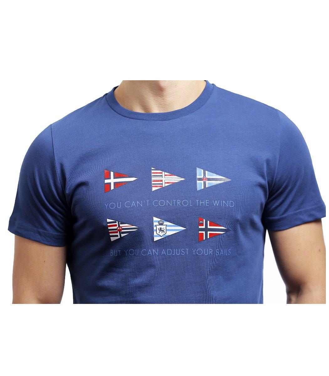 Синяя футболка Paul&Shark с принтом - Синий - Вид 5