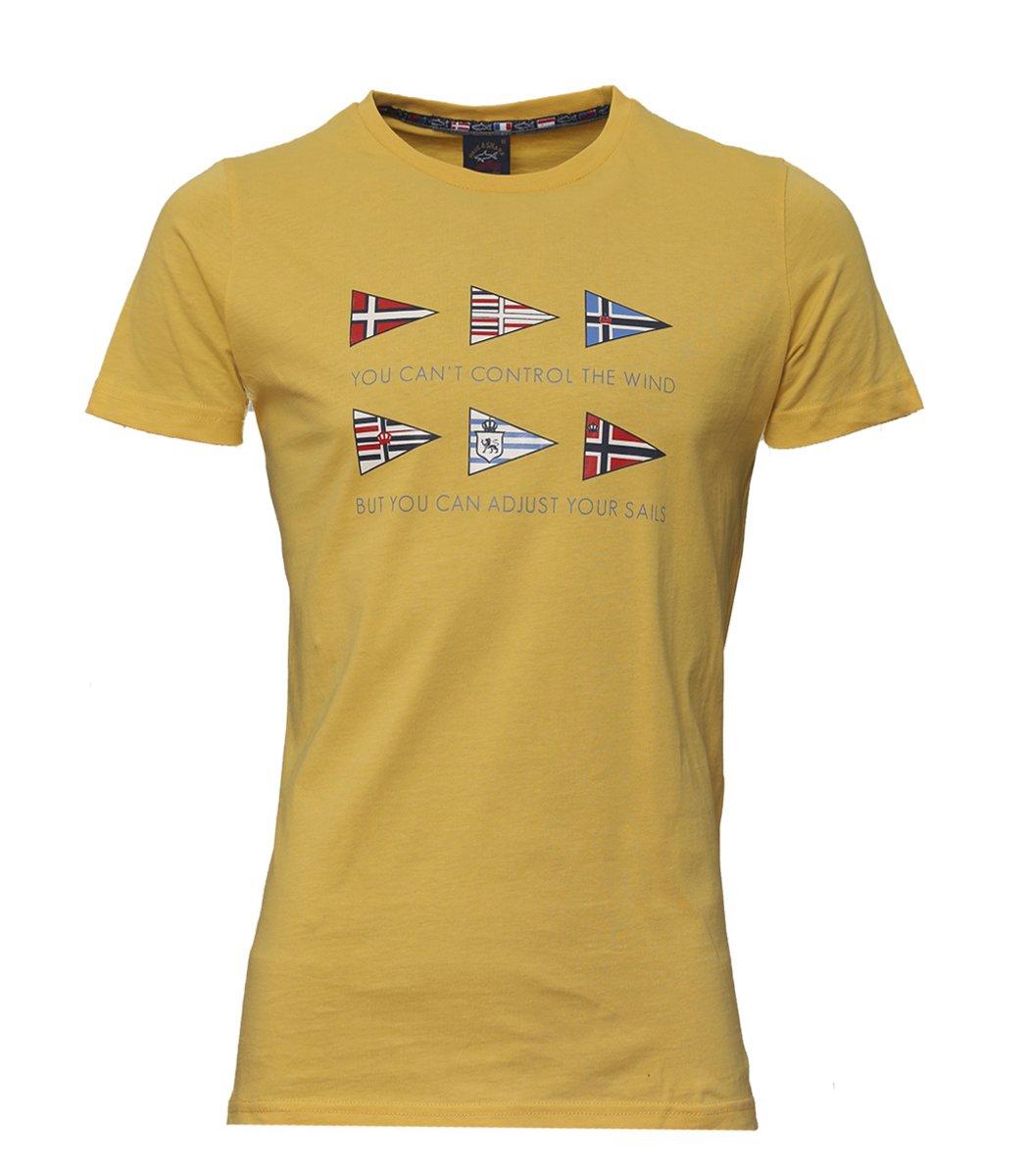 Желтая футболка Paul&Shark с принтом