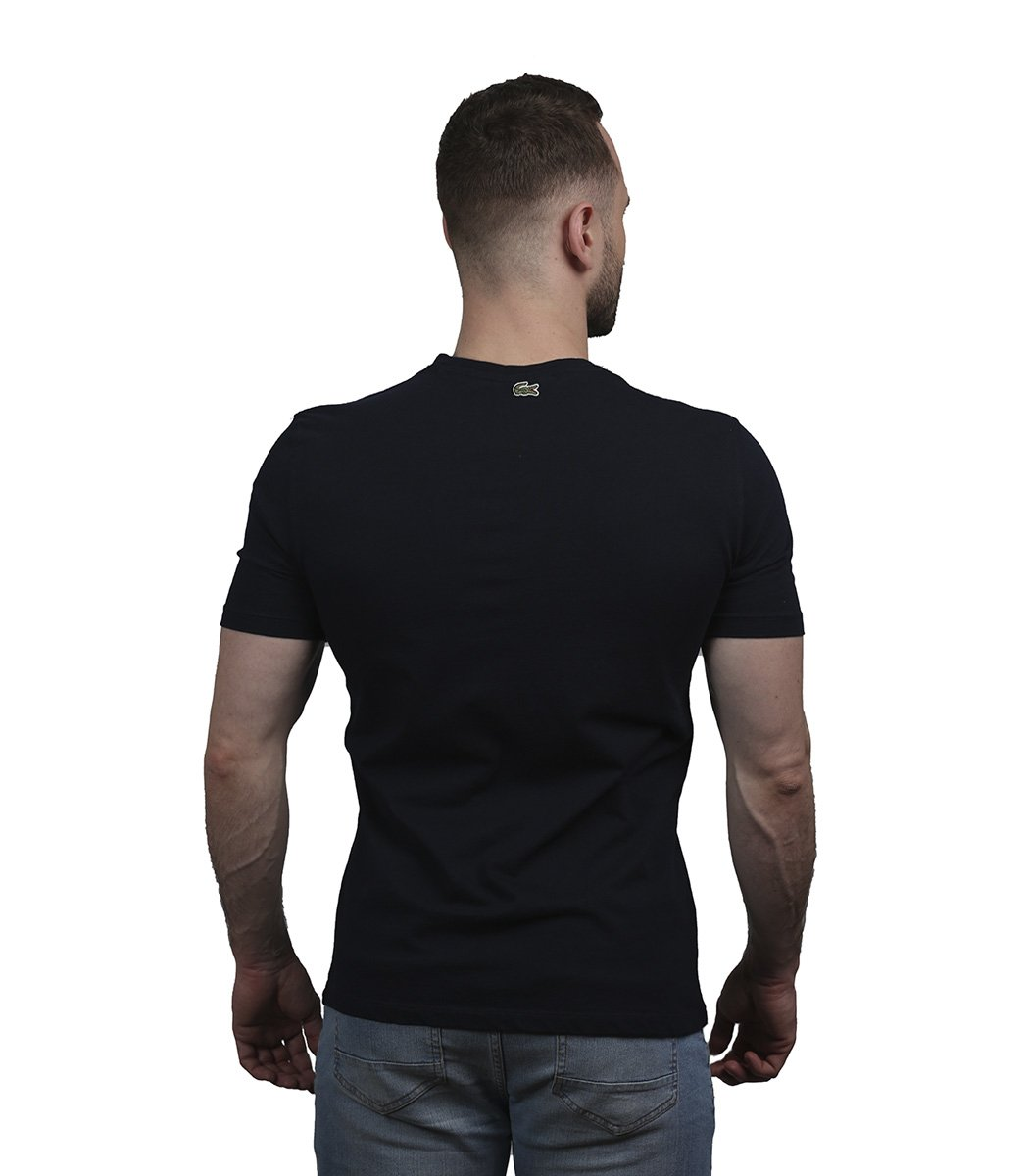 Темно-синяя футболка с принтом Lacoste