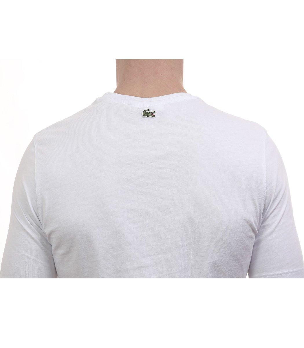 Белая футболка с принтом Lacoste
