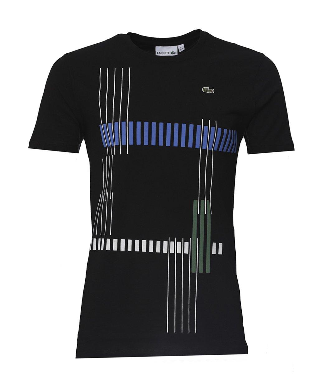 Черная футболка с геометрическим принтом Lacoste