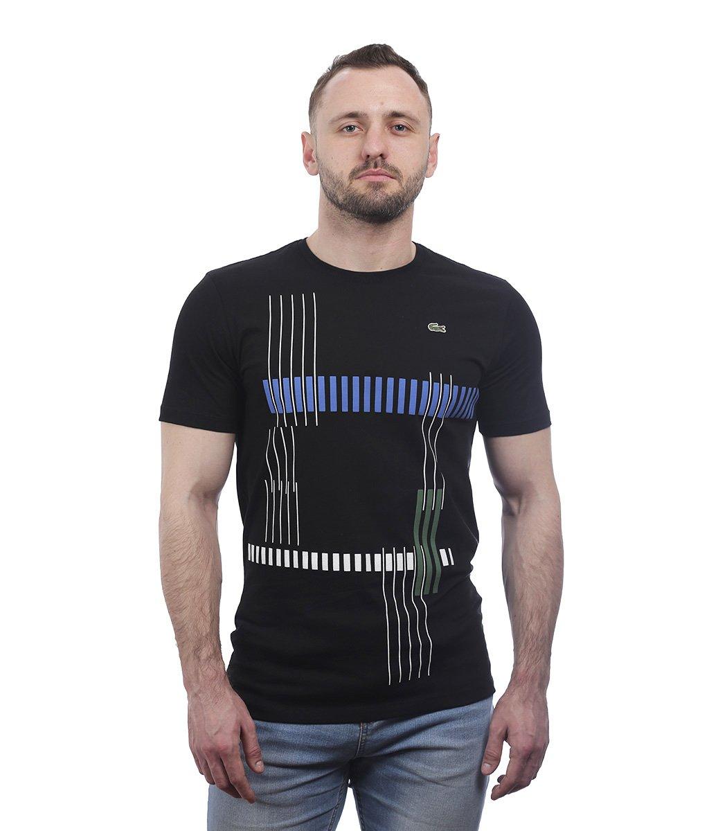 Черная футболка с геометрическим принтом Lacoste - Черный - Вид 2