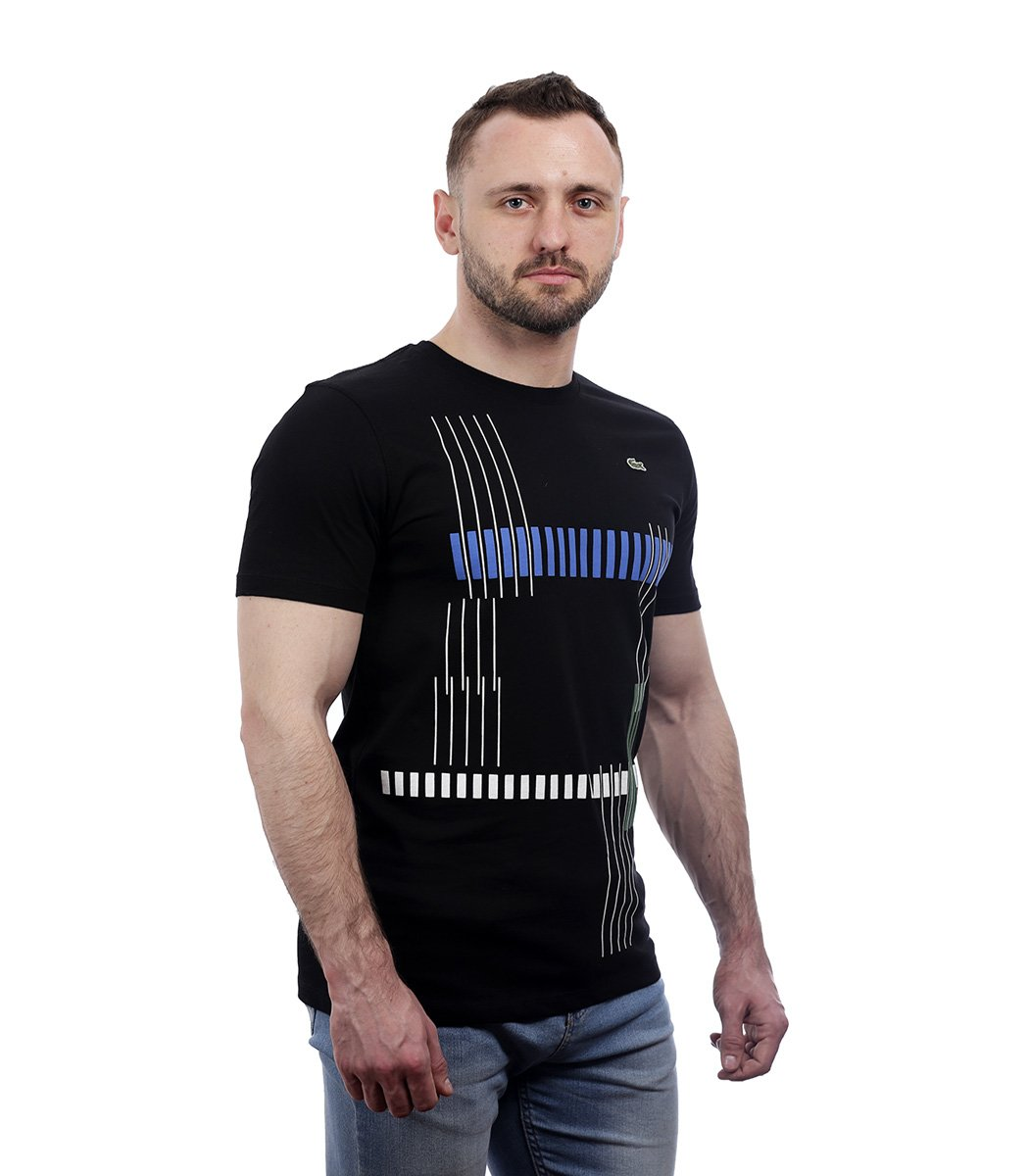 Черная футболка с геометрическим принтом Lacoste - Черный - Вид 3