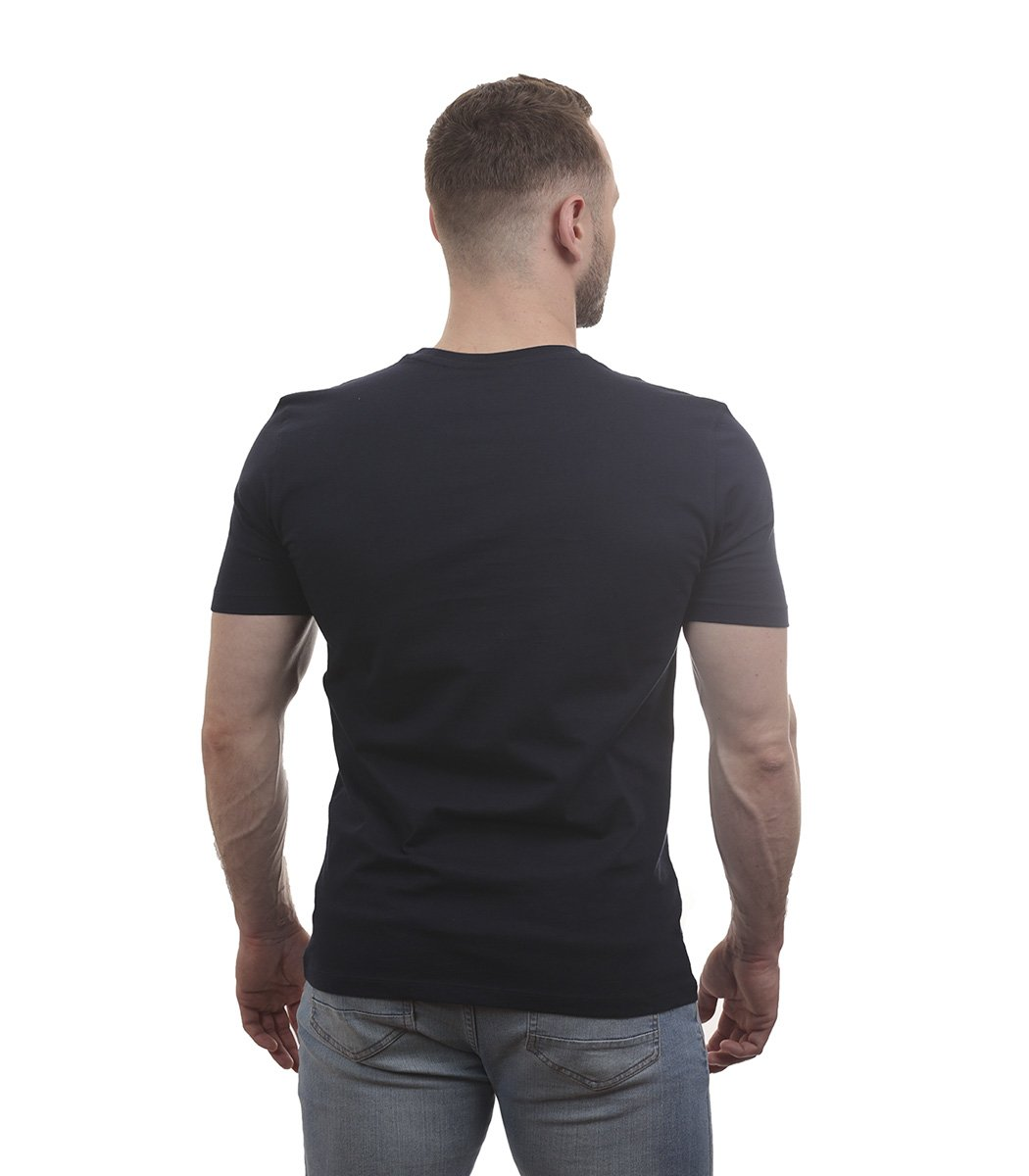 Темно-синяя футболка с геометрическим принтом Lacoste