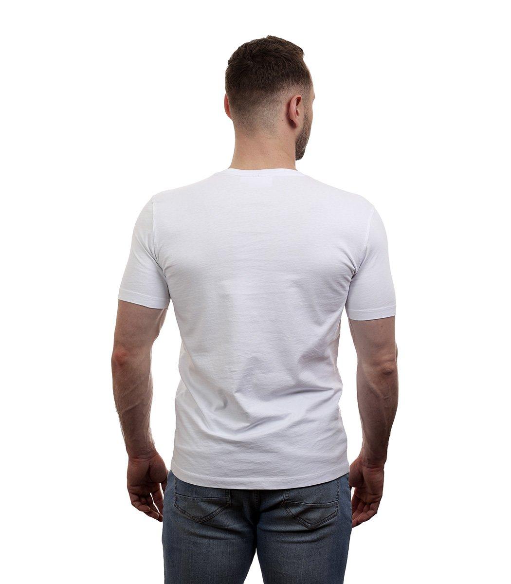 Белая футболка с геометрическим принтом Lacoste