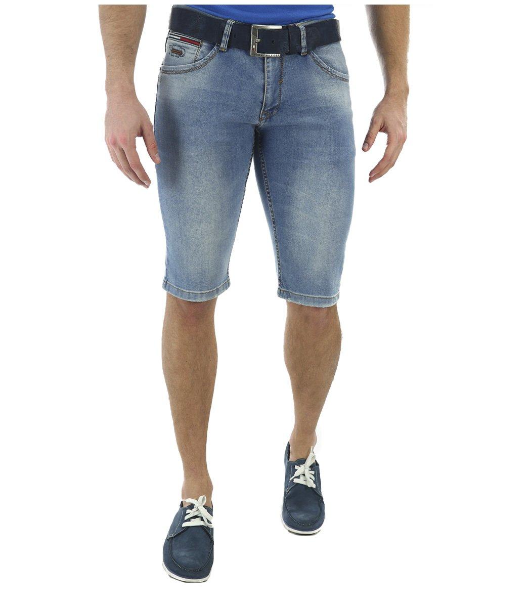 Джинсовые шорты Tommy Hilfiger+ремень - Голубой - Вид 2