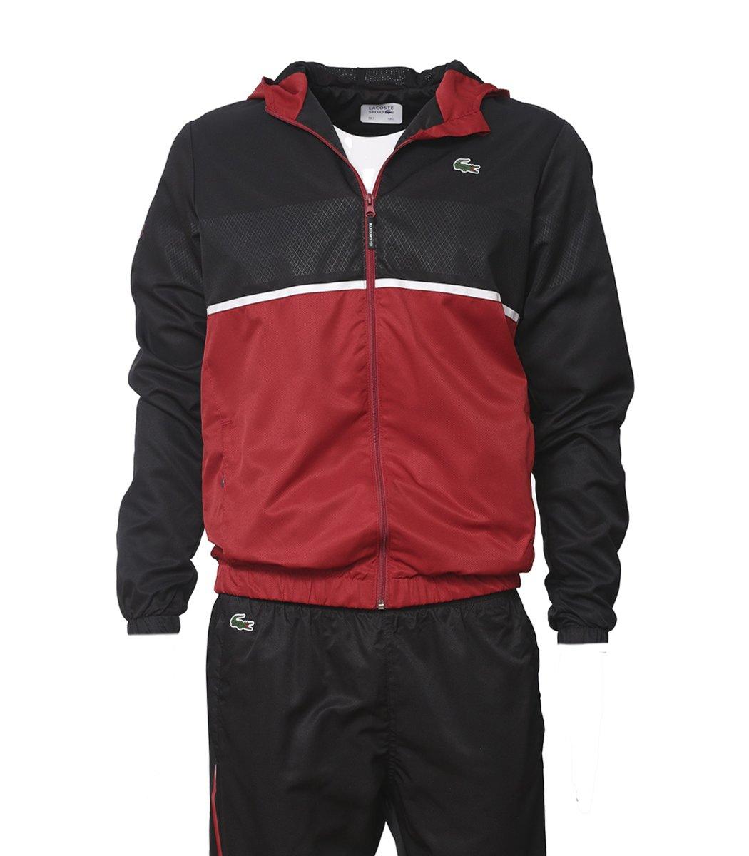 Черно-красный спортивный костюм с капюшоном Lacoste