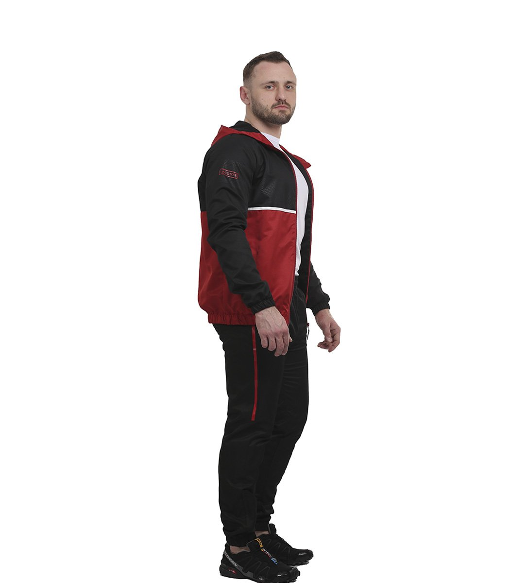 Черно-красный спортивный костюм с капюшоном Lacoste - Черный/красный - Вид 4