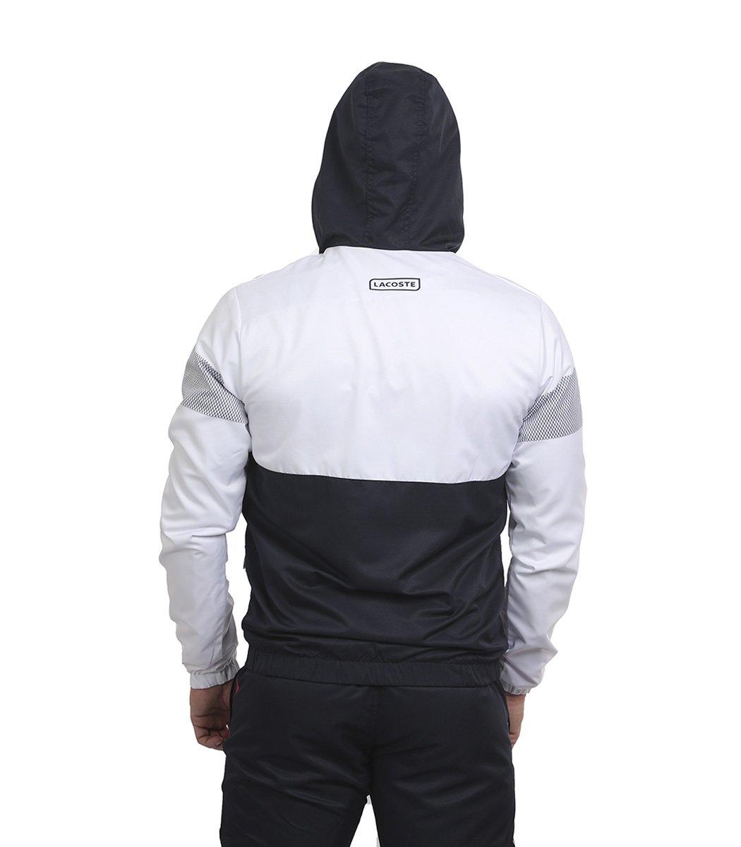 Бело-синий спортивный костюм с капюшоном Lacoste