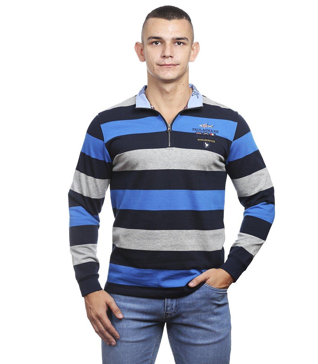 Кофта воротник стойка на молнии PAUL SHARK СР3 (синий/серый)
