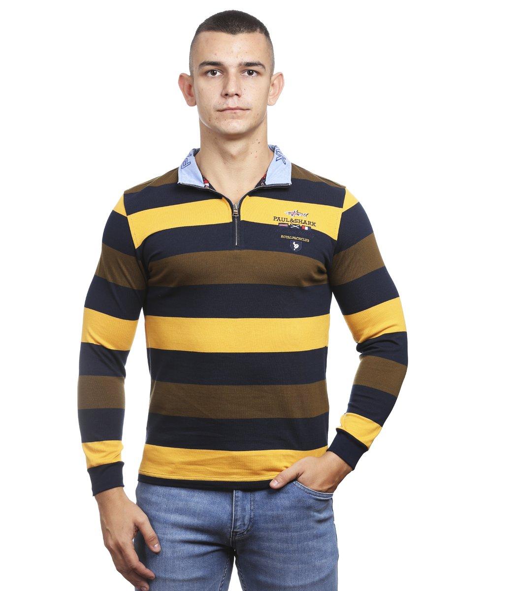 Кофта воротник стойка на молнии PAUL SHARK СР3 (желтый/коричневый)