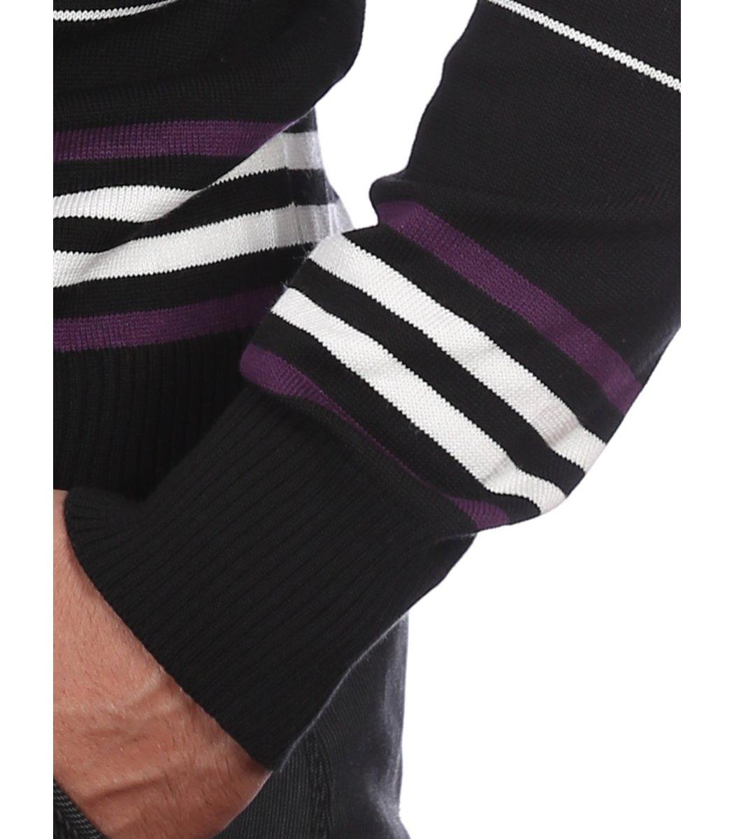 Джемпер в полоску Lacoste JL1 (Черный/фиолетовый) - Черний - Вид 7
