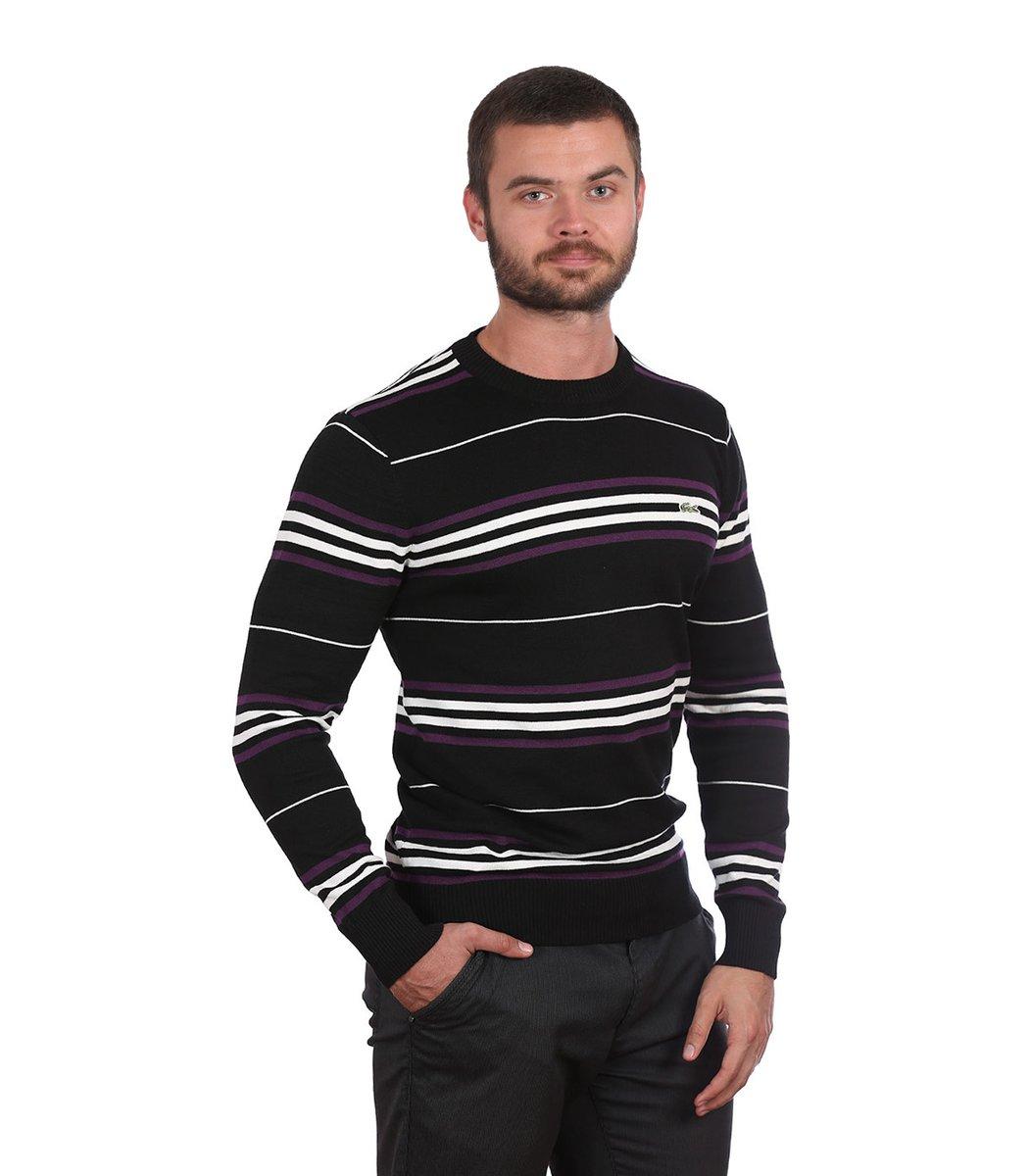 Джемпер в полоску Lacoste JL1 (Черный/фиолетовый) - Черний - Вид 4