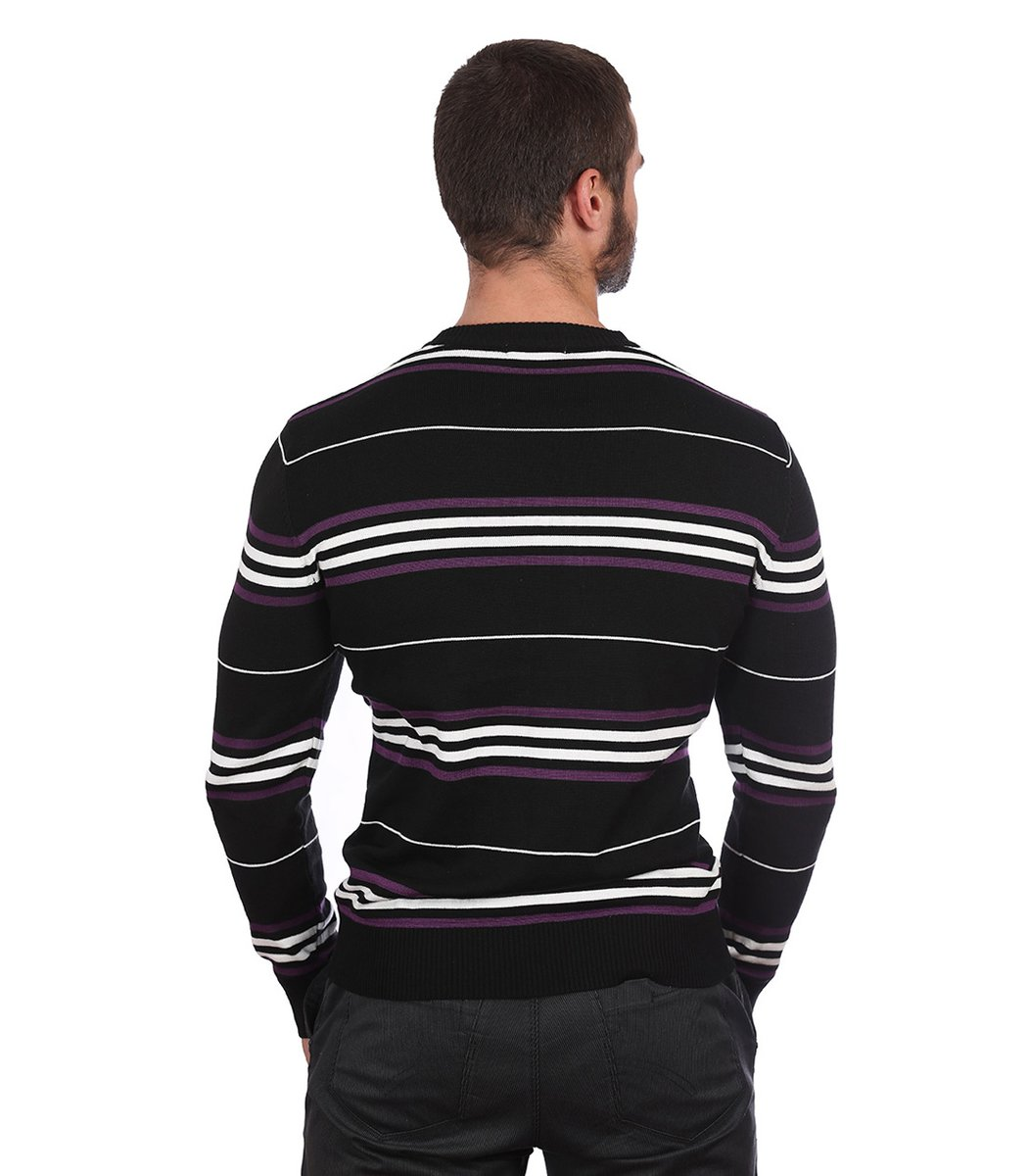 Джемпер в полоску Lacoste JL1 (Черный/фиолетовый) - Черний - Вид 5