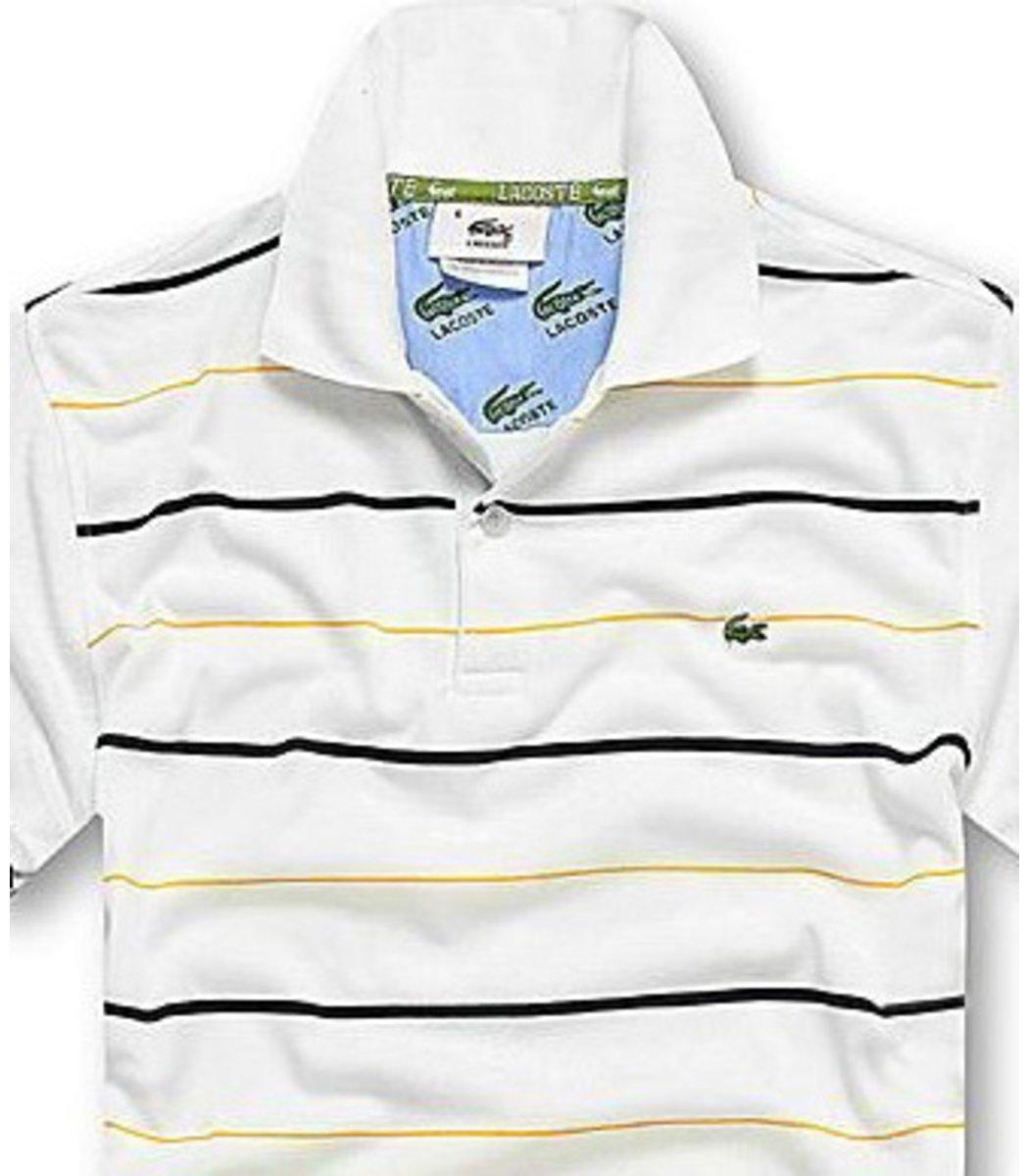 Мужская белая футболка поло Lacoste в полоску