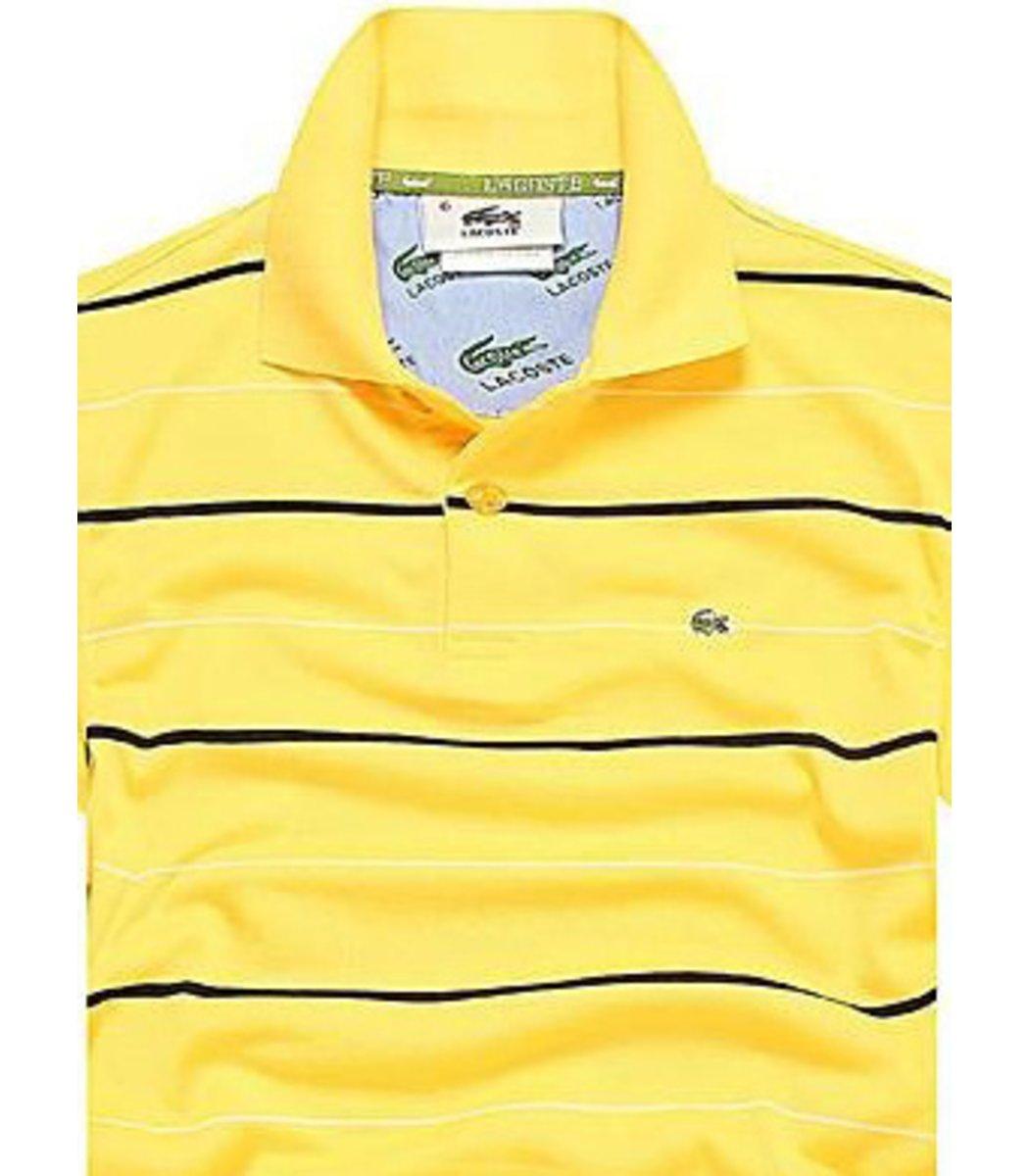 Мужская желтая футболка поло Lacoste в полоску