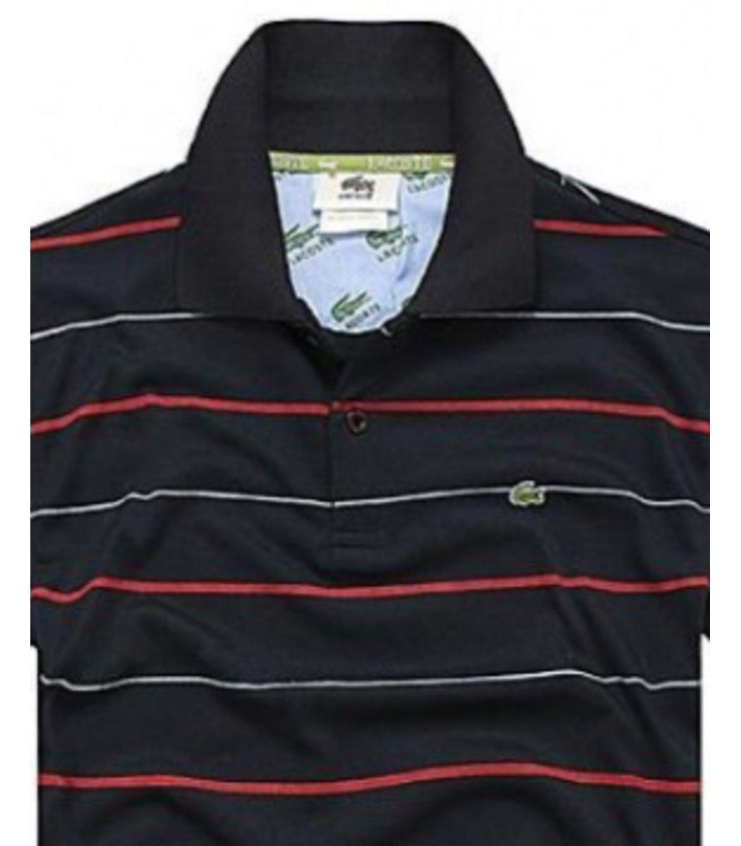 Мужская черная футболка поло Lacoste в полоску - Черный - Вид 2