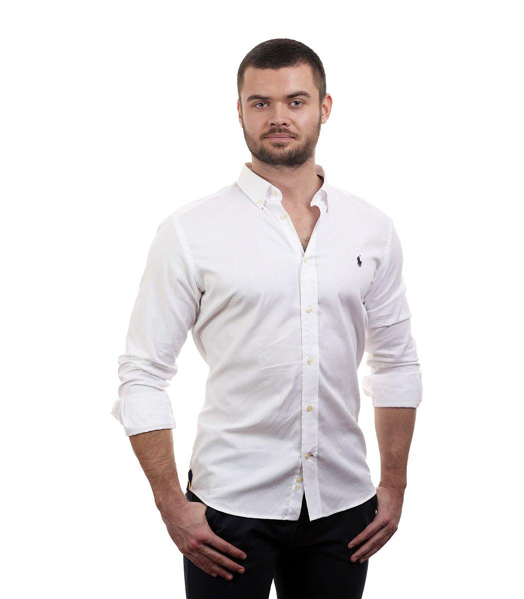 Белая рубашка POLO Ralph Lauren classic - Белый - Вид 3