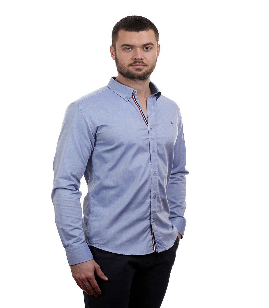 Голубая рубашка Tommy Hilfiger classic - Голубой - Вид 4