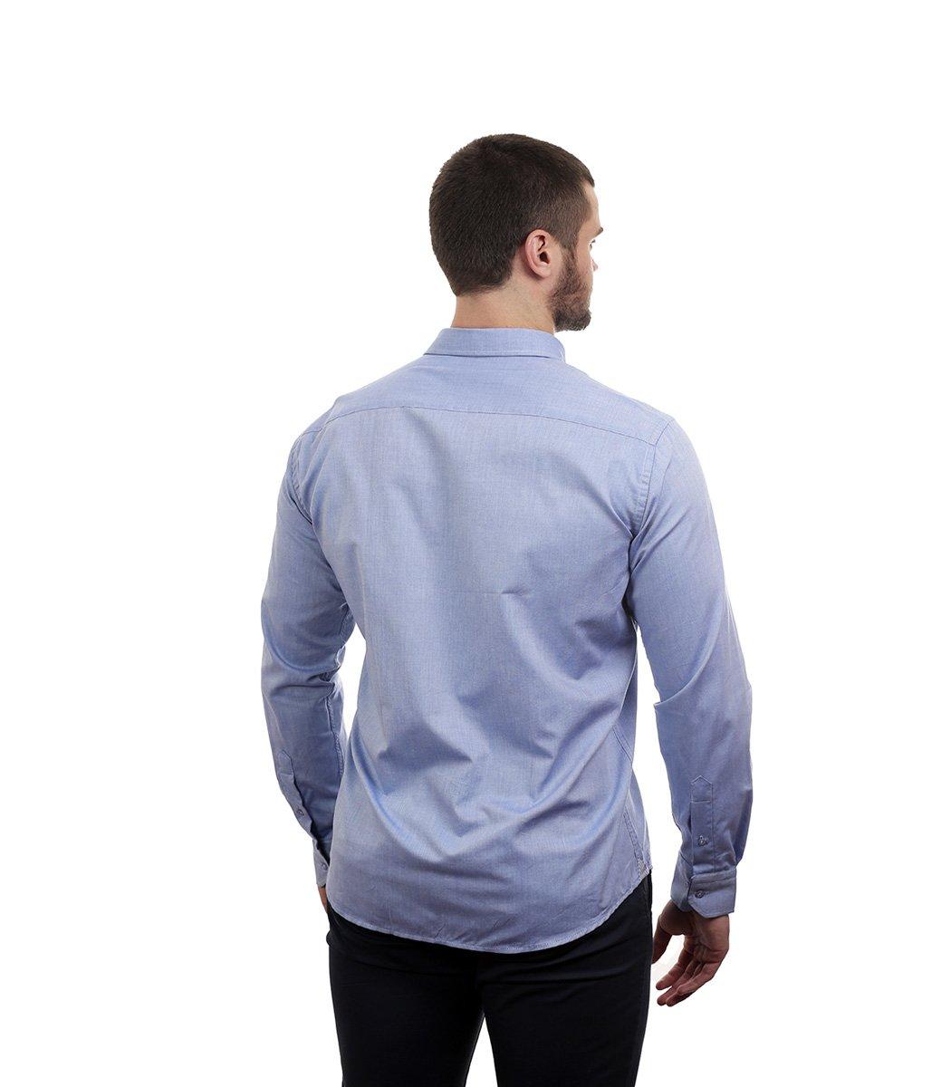 Голубая рубашка Tommy Hilfiger classic - Голубой - Вид 7