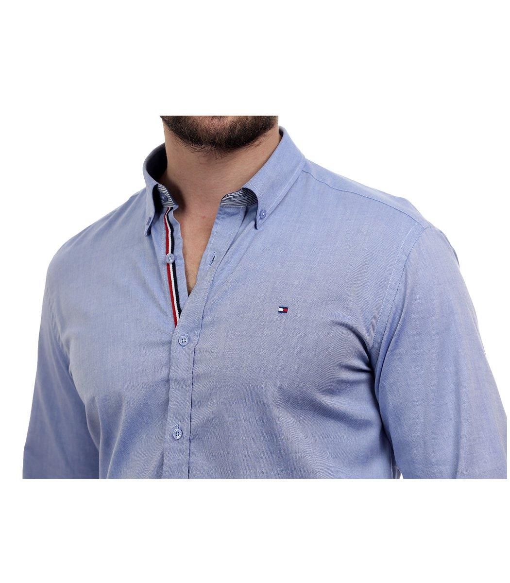 Голубая рубашка Tommy Hilfiger classic - Голубой - Вид 6
