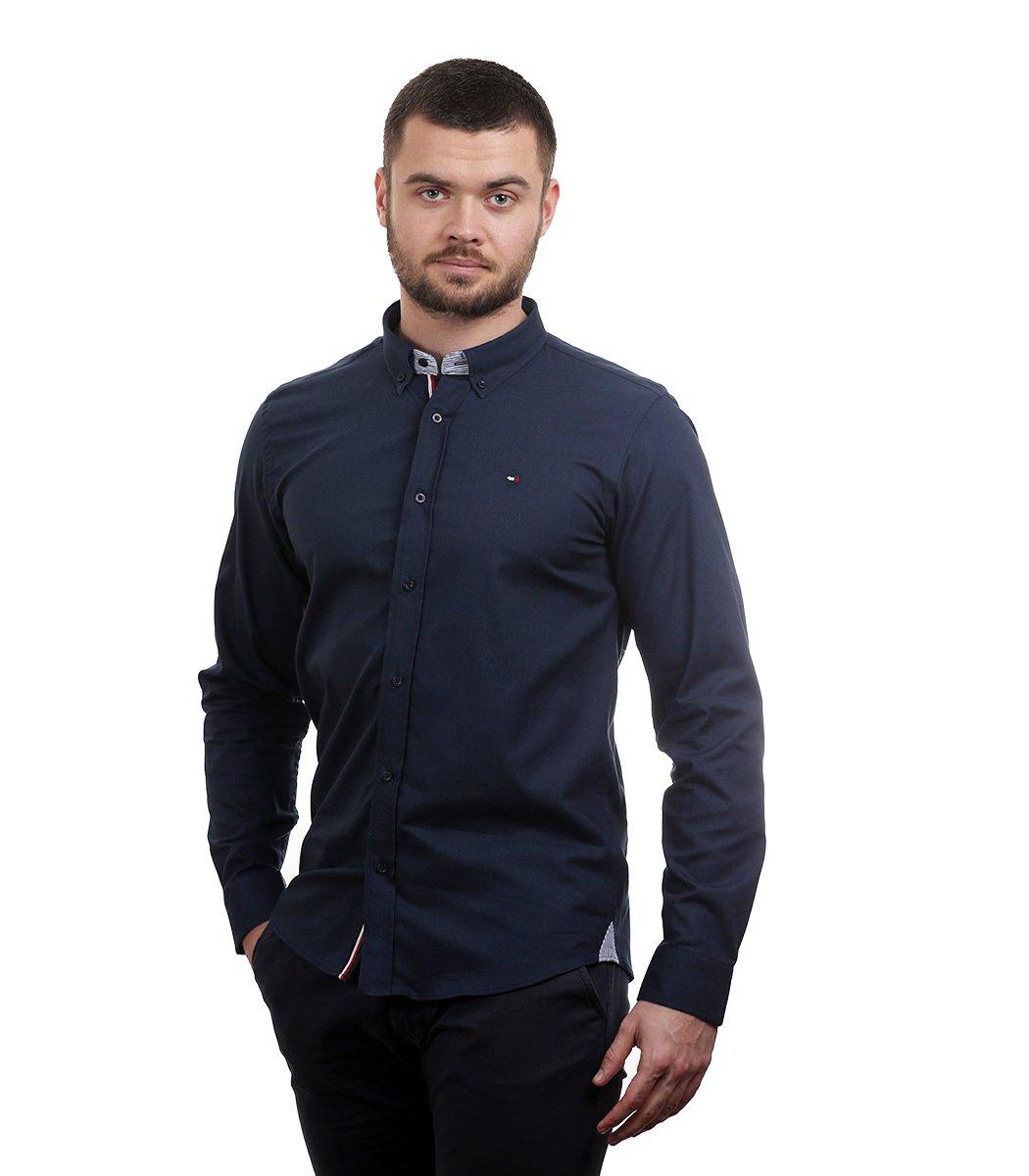 Темно-синяя рубашка Tommy Hilfiger classic - Темно-синий - Вид 3