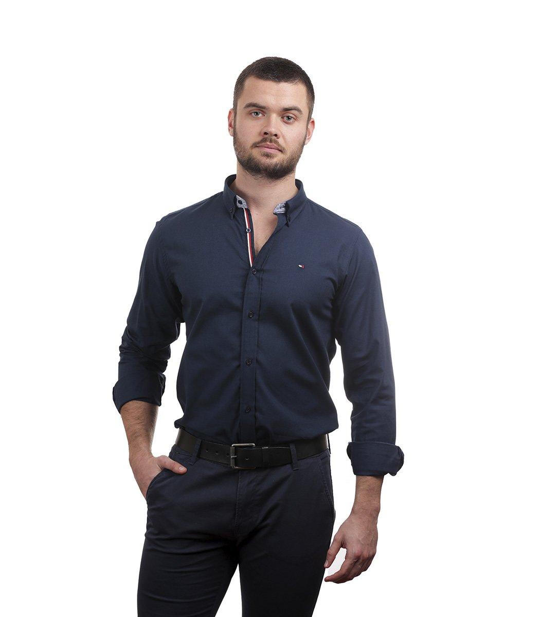 Темно-синяя рубашка Tommy Hilfiger classic - Темно-синий - Вид 2
