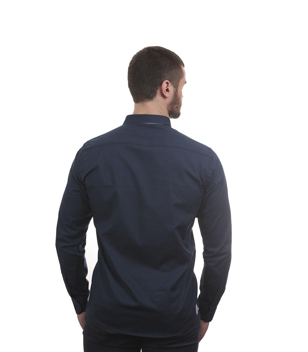 Темно-синяя рубашка Tommy Hilfiger classic - Темно-синий - Вид 5